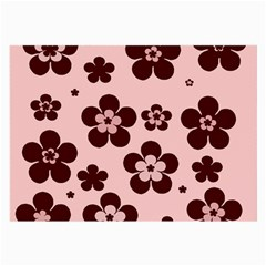Pink With Brown Flowers Glasses Cloth (Large, Two Sided)