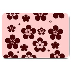 Pink With Brown Flowers Large Door Mat