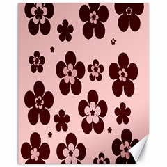Pink With Brown Flowers Canvas 11  x 14  (Unframed)