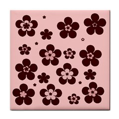 Pink With Brown Flowers Face Towel