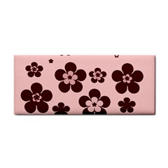 Pink With Brown Flowers Hand Towel