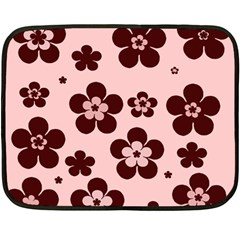 Pink With Brown Flowers Mini Fleece Blanket (two Sided)
