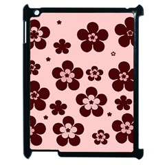 Pink With Brown Flowers Apple iPad 2 Case (Black)