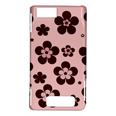 Pink With Brown Flowers Motorola Droid X / X2 Hardshell Case