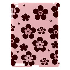 Pink With Brown Flowers Apple Ipad 3/4 Hardshell Case (compatible With Smart Cover)