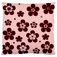 Pink With Brown Flowers Large Cushion Case (single Sided)