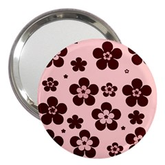 Pink With Brown Flowers 3  Handbag Mirror
