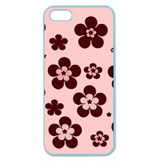 Pink With Brown Flowers Apple Seamless Iphone 5 Case (color)