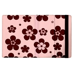 Pink With Brown Flowers Apple iPad 2 Flip Case