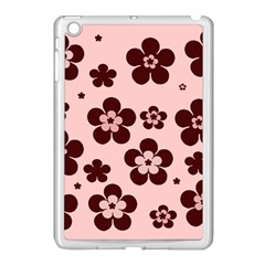 Pink With Brown Flowers Apple Ipad Mini Case (white)