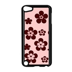 Pink With Brown Flowers Apple iPod Touch 5 Case (Black)