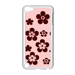 Pink With Brown Flowers Apple iPod Touch 5 Case (White)