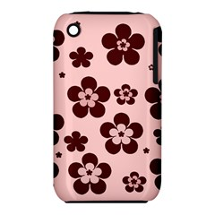 Pink With Brown Flowers Apple iPhone 3G/3GS Hardshell Case (PC+Silicone)