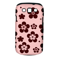 Pink With Brown Flowers Samsung Galaxy S III Classic Hardshell Case (PC+Silicone)