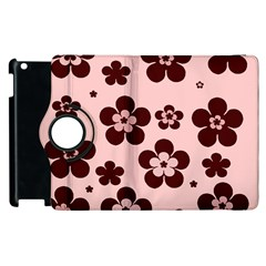 Pink With Brown Flowers Apple Ipad 2 Flip 360 Case