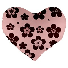 Pink With Brown Flowers 19  Premium Heart Shape Cushion
