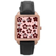 Pink With Brown Flowers Rose Gold Leather Watch