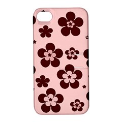 Pink With Brown Flowers Apple Iphone 4/4s Hardshell Case With Stand
