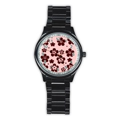 Pink With Brown Flowers Sport Metal Watch (black)