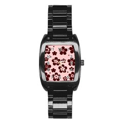 Pink With Brown Flowers Stainless Steel Barrel Watch