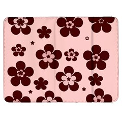 Pink With Brown Flowers Samsung Galaxy Tab 7  P1000 Flip Case