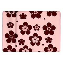 Pink With Brown Flowers Samsung Galaxy Tab 10.1  P7500 Flip Case