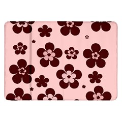 Pink With Brown Flowers Samsung Galaxy Tab 8.9  P7300 Flip Case