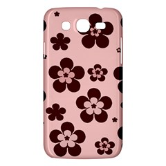 Pink With Brown Flowers Samsung Galaxy Mega 5.8 I9152 Hardshell Case
