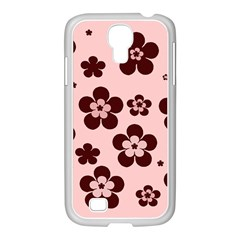 Pink With Brown Flowers Samsung GALAXY S4 I9500/ I9505 Case (White)