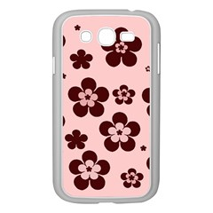 Pink With Brown Flowers Samsung Galaxy Grand Duos I9082 Case (white)
