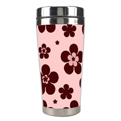 Pink With Brown Flowers Stainless Steel Travel Tumbler