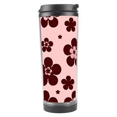Pink With Brown Flowers Travel Tumbler