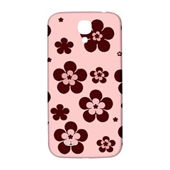 Pink With Brown Flowers Samsung Galaxy S4 I9500/i9505  Hardshell Back Case