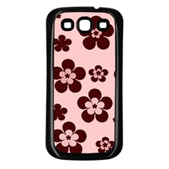 Pink With Brown Flowers Samsung Galaxy S3 Back Case (Black)