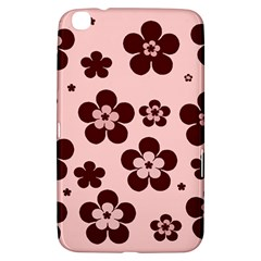 Pink With Brown Flowers Samsung Galaxy Tab 3 (8 ) T3100 Hardshell Case