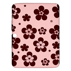 Pink With Brown Flowers Samsung Galaxy Tab 3 (10.1 ) P5200 Hardshell Case