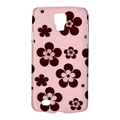 Pink With Brown Flowers Samsung Galaxy S4 Active (I9295) Hardshell Case