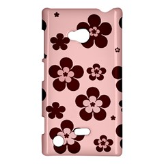 Pink With Brown Flowers Nokia Lumia 720 Hardshell Case