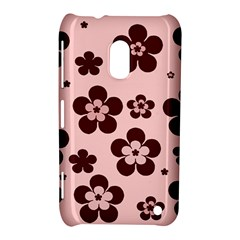 Pink With Brown Flowers Nokia Lumia 620 Hardshell Case