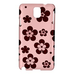 Pink With Brown Flowers Samsung Galaxy Note 3 N9005 Hardshell Case