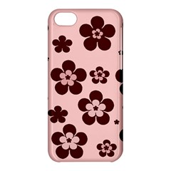 Pink With Brown Flowers Apple Iphone 5c Hardshell Case