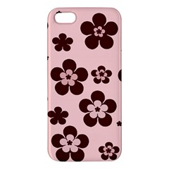 Pink With Brown Flowers Iphone 5s Premium Hardshell Case