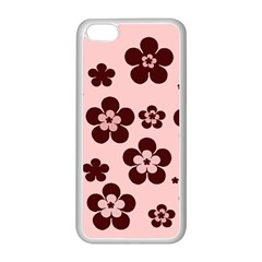 Pink With Brown Flowers Apple Iphone 5c Seamless Case (white)