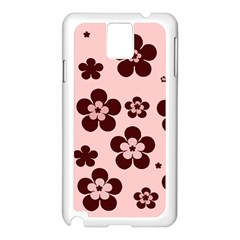 Pink With Brown Flowers Samsung Galaxy Note 3 N9005 Case (White)