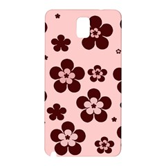 Pink With Brown Flowers Samsung Galaxy Note 3 N9005 Hardshell Back Case