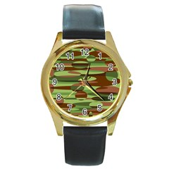 Green and Brown Spheres by Khoncepts.com Round Gold Metal Watch