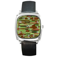 Green and Brown Spheres by Khoncepts.com Square Metal Watch