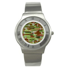 Green and Brown Spheres by Khoncepts.com Stainless Steel Watch