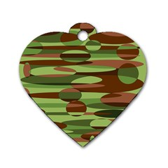 Green and Brown Spheres by Khoncepts.com Dog Tag Heart (One Side)