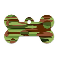 Green and Brown Spheres by Khoncepts.com Dog Tag Bone (Two Sides)